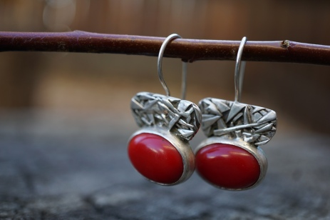 Unique Fused Silver Earrings with Red Coral